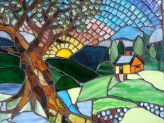 Sunrise Wall Art | Mosaic Landscape Wall Art: Sunrise Oak Tree Landscape Scene with Kitty ...