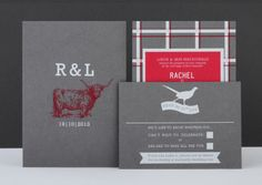 Rachel + Lawrence's Highland-themed wedding stationery. Silkscreen printed in red and white on smoke grey.