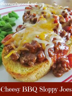 Cheesy BBQ Sloppy Joes--Use this Sloppy Joe recipe or your own to serve on Texas toast with cheddar cheese. Yum!