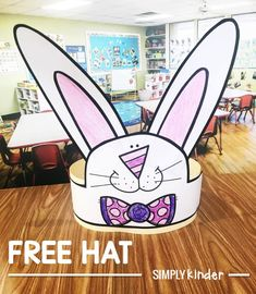 Free Easter Bunny Hat from Simply Kinder. Perfect for preschool, kindergarten, and first grade students.