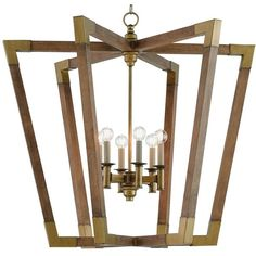 Odera Rustic Modern Brass Cap Modular Wood Chandelier 1 990 Liked On Polyvore Featuring