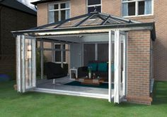 Ultraframe Living Room Orangery - the modern take on a traditional conservatory. Orangery Conservatory, Conservatory Ideas, Garden Structures, Outdoor Structures, Orangery Roof, House Extension Design, Extension Ideas, Rear Extension, Conservatory Extension