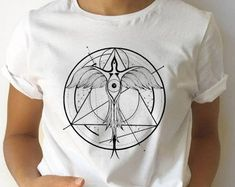 Original artwork on apparel items and wall decor by ZuskaArt Dnd Table, Graphic Shirts, Alchemy, Phoenix, Original Artwork, Etsy Seller, How To Draw Hands, Ink, Unisex