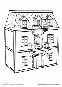 Kindergarten Life Learning Worksheets: Dollhouse Coloring Page
