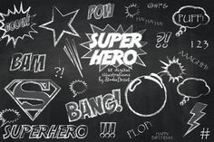 Superhero Cliparts, Super Hero Chalkboard Clip Art, Speech Bubble, Superman, Birthday Hero Chalk Graphics for Personal and Commercial Use Chalkboard Art, Pencil Illustration, Graphic Illustration, Illustrations, Creative Sketches, Chalk Art, Paint Markers, Business Card Logo, Stickers