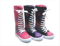 New Kids Girl Mid Calf High Top Canvas Boots Tennis Shoe Size 10 - 4