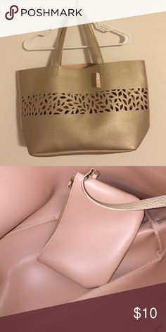 New tote purse gold color Brand new tote great over night or shopping bag purse or diaper bag. With attached zippered wallet measures APROX 12 x20 inches. gold color Bags Totes