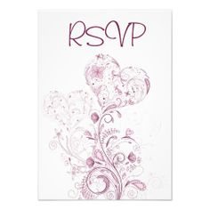 Pretty Heart Flowers Wedding RSVP Cards