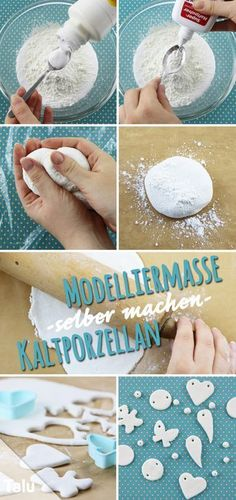 Make modeling clay yourself - Instructions & ideas for cold porcelain - Talu.de - Make modeling clay yourself – cold porcelain – Talu. Clay Crafts For Kids, Diy Crafts To Sell, Arts And Crafts, Felt Crafts, Clay Christmas Decorations, Christmas Crafts, Christmas Trees, Thanksgiving Crafts, Air Dry Clay
