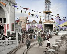 Dreamland Amusement Park. It burned to the ground 7 years after it was opened. colorized