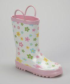 Look what I found on #zulily! Foxfire Pink Posies Rain Boot by Foxfire #zulilyfinds