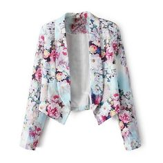 LUCLUC Floral Printed Long Sleeve Blazer ($29) ❤ liked on Polyvore featuring outerwear, jackets, blazers, lucluc, tops, flower print jacket, blazer jacket, floral print jacket, flower print blazer and long sleeve blazer
