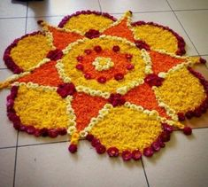 12 Types of Flower Rangoli Designs for different areas Rangoli Designs Flower, Colorful Rangoli Designs, Rangoli Designs Diwali, Diwali Rangoli, Rangoli Designs Images, Beautiful Rangoli Designs, Flower Designs, Rangoli With Flowers, Diwali Flowers