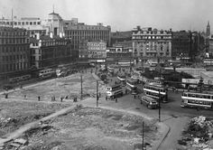 Piccadilly in the 1940s Piccadilly Gardens, considered by many to be at the very heart Manchester, is bounded by air raid shelters in this image from the Second World War. The city was heavily bombed in the Christmas Blitz of 1940 and continued to be an enemy target for some time. more: http://www.flickr.com/photos/gmpolice1/8639783291/