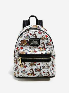 c5550d70c4f9 Loungefly Disney Beauty And The Beast Allover Tattoo Print Mini Backpack