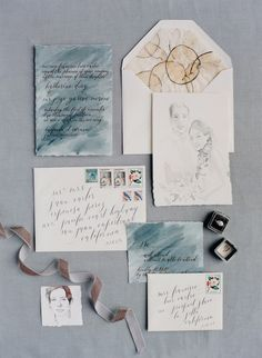 Water colored wedding invitations