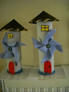 Paper roll houses with windmill (paper pinwheel) Projects For Kids, Diy For Kids, Diy And Crafts, Crafts For Kids, Arts And Crafts, Paper Towel Roll Crafts, Toilet Paper Roll Crafts, Diy Paper, Toilet Roll Craft