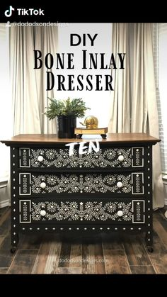 Black Painted Furniture, Chalk Paint Furniture, Vintage Furniture, Furniture Decor, Stenciling Furniture, Furniture Repair, Furniture Makeover, Do It Yourself Furniture, Repurposed Furniture