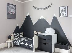 Looking to create a children's monochrome bedroom. Then check out how I created . Looking to create a children's monochrome bedroom. Then check out how I created this look in my son's bedroom, including painting mountains in his bedroom. Boys Bedroom Paint, Bedroom Decor, Bedroom Small, Dream Bedroom, Bedroom Ideas, Kids Bedroom Boys, Boy Toddler Bedroom, Kids Room Paint, Child Room