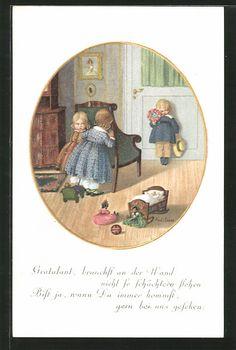 old postcard: Künstler-AK Pauli Ebner: Mädchen verstecken sich hinter einem Stuhl vor einem Gratulanten, Puppen