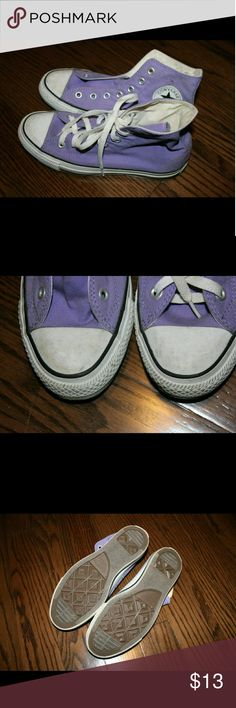 Light Purple Chuck Taylor Converse High Tops The right shoe is missing the laces. You can find converse laces cheap elsewhere! There is also a brown (dirt?) stain on the same shoe, as pictured. Converse Shoes Sneakers