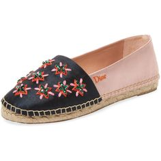 Dior Women's Two-Tone Embroidered Espadrille - Size 35.5 (1,895 ILS) ❤ liked on Polyvore featuring shoes, sandals, multi, platform shoes, embellished sandals, espadrilles shoes, embroidered shoes and espadrille sandals
