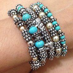 Mix de pulseiras miçangas e perolas:
