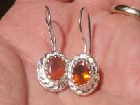 CHERRY FACETED FIRE OPALS GEMS & SILVER EARRINGS E026