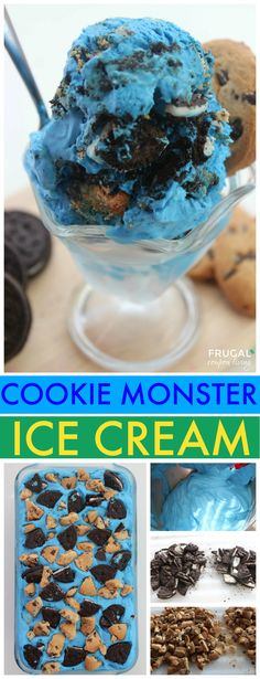 Easy Cookie Monster Ice Cream - Sesame Street Party Idea or for any cookie lover, this no churn ice cream recipe has the perfect mix of oreos and chocolate chip cookies!