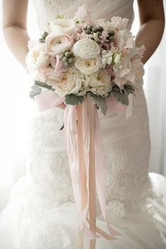blush pink, white and grey wedding bouquet with trailing ribbons