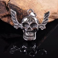 Big Ear Skull 316L Stainless Steel Pendant Necklace