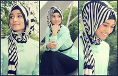 Monochrome striped Hijab and mint colured shirt - Spring Must have!