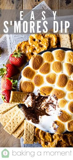 S'mores Dip Recipe: No campfire required! -Baking a Moment Candy Recipes, Holiday Recipes, Dessert Recipes, Desserts, Homemade Graham Crackers, Homemade Candies, Baked Smores, Crab Dip Recipes, Toast In The Oven