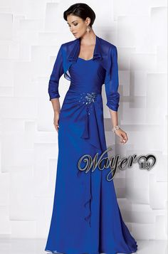 HL-MB0252 New Arrival Elegant Royal Blue Beaded Mother of the Bride Dresses with 3/4 sleeves Jacket Bolero Plus Size Custom Made