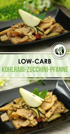 Die Kohlrabi-Zucchini-Pfanne mit Birnenstücken ist low-carb sowie vegan und zudem auch noch glutenfrei.