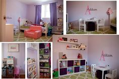 purple and green toddler room / nursery  Bookshelf (Turned on its side): from ikea