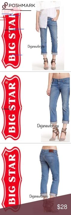 "BIG STAR RIKKI Cropped Jeans BIG STAR RIKKI Cropped Jeans  Size 32 Light Wash  Zip fly with button closure 5 Pocket construction  Cropped leg  Whiskering and fading detail at thighs  Distressed Measurements laying flat  Waist 17"" Rise 9"" Inseam 26"" Big Star Jeans Ankle & Cropped Big Star Jeans, Cropped Jeans, Thighs, Jeans Size, Capri Pants, Construction, Buttons, Closure, Ankle"