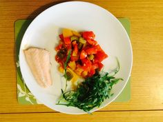 Steamed salmon, stir fried toms,peppers,garlic (batched cooked to save time) and rocket, takes 2 mins to prep, 10 mins to cook, yomyom, packed full of nutrients. What are you having for your lunch today?