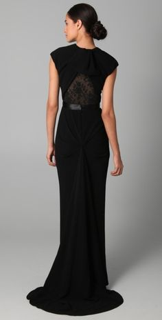 for a black-tie event where no one steps on trains: cap sleeve gown (back view) with lace back detail by reem acra
