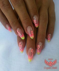 #floral decorations and #neon #nails Colors: 153  622 color gel, Royal R34 for the flowers