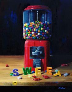 A Sweet Smile by Craig Shillam, Oil, 20 x 16 Painting Prints, Fine Art Prints, Edible Arrangements, Gumball Machine, Green Vase, Machine Design, Finding Joy, Art Pages, Beautiful Artwork