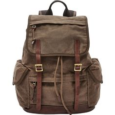 Fossil Defender Rucksack ($228) ❤ liked on Polyvore featuring men's fashion, men's bags, men's backpacks and brown