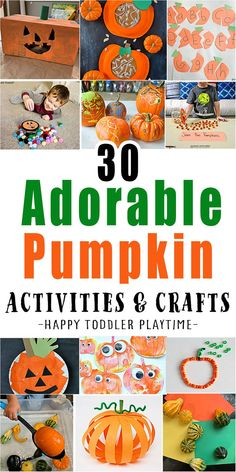 30 Cute & Easy Pumpkin Crafts & Activities for kids! Fun, playful and easy to set up. These ideas are the perfect way to celebrate Fall. Fall Arts And Crafts, Fall Crafts For Kids, Toddler Crafts, Fun Crafts, Nature Crafts, Toddler Activities, Halloween Activity Days, Halloween Activities For Kids, Autumn Activities