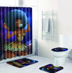 FOUR PIECES AFRICAN WOMAN SHOWER CURTAIN AND NON SLIP RUGS Teen Bedroom Gray