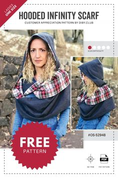 Marvelous Photo of Hooded Scarf Sewing Pattern Hooded Scarf Sewing Pattern Hooded Infinity Scarf Free Pdf Sewing Pattern Di Club Free Printable Sewing Patterns, Free Sewing, Pdf Patterns, Fabric Patterns, Hooded Scarf Pattern, Fleece Hat Pattern, Scarf Patterns, Sewing Scarves, Sewing Clothes Women