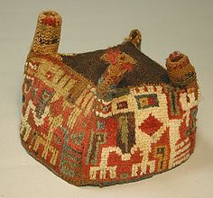 Four-Cornered Hat Date: century Geography: Peru Culture: Wari Medium: Camelid hair Dimensions: Height 5 in. African Masks, African Art, Hat Patterns To Sew, Sewing Patterns, Ancient Peruvian, Peru Culture, South American Art, Peruvian Textiles, Art Premier