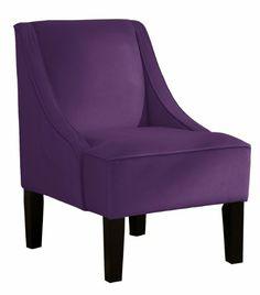 Amazon.com - Skyline Furniture Swoop Arm Chair in Velvet Aubergine - Purple Accent Chair