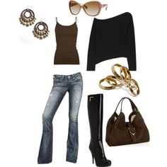casual black & brown outfit