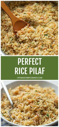 This perfect rice pilaf is easy to make and turns out perfect every time! It's so simple and flavorful, you'll crave it at least once a week! Perfect Rice Pilaf - Life Made Simple Carol Ward Rice Side Dishes, Food Dishes, Easy Rice Pilaf, What Is Rice Pilaf, Rice Pilaf With Orzo, Greek Rice Pilaf, Vegetarian Recipes, Cooking Recipes, Cooking Tips