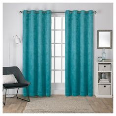 """Antique Shantung Woven Blackout Curtain Panels Teal (Blue) (52""""x108"""") - Exclusive Home"""